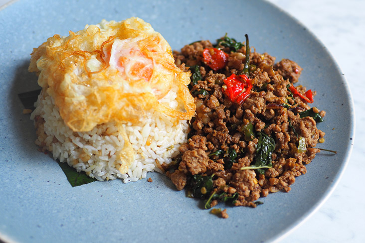 The 'pad krapow' with the minced pork, fried egg and jasmine rice is a crowd pleaser