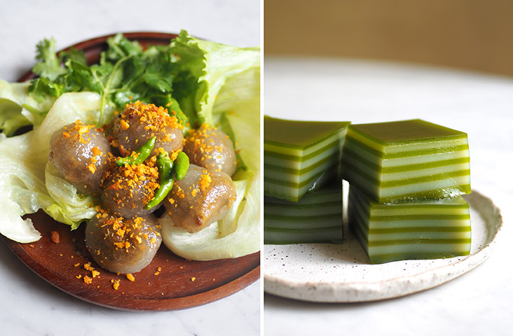 Get these delicious 'saku sai moo' with their unusual meat filling and garnished with fried pieces of garlic (left).  The 'khanom chan' or pandan layered cake has a scent full of pandan leaves (right)