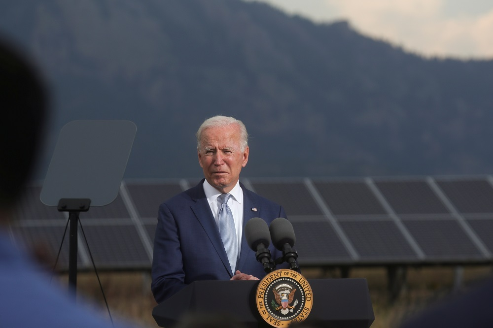 US President Joe Biden makes remarks to promote his infrastructure spending proposals during a visit to the National Renewable Energy Laboratory (NREL), in Golden, Colorado September 14, 2021. ― Reuters pic