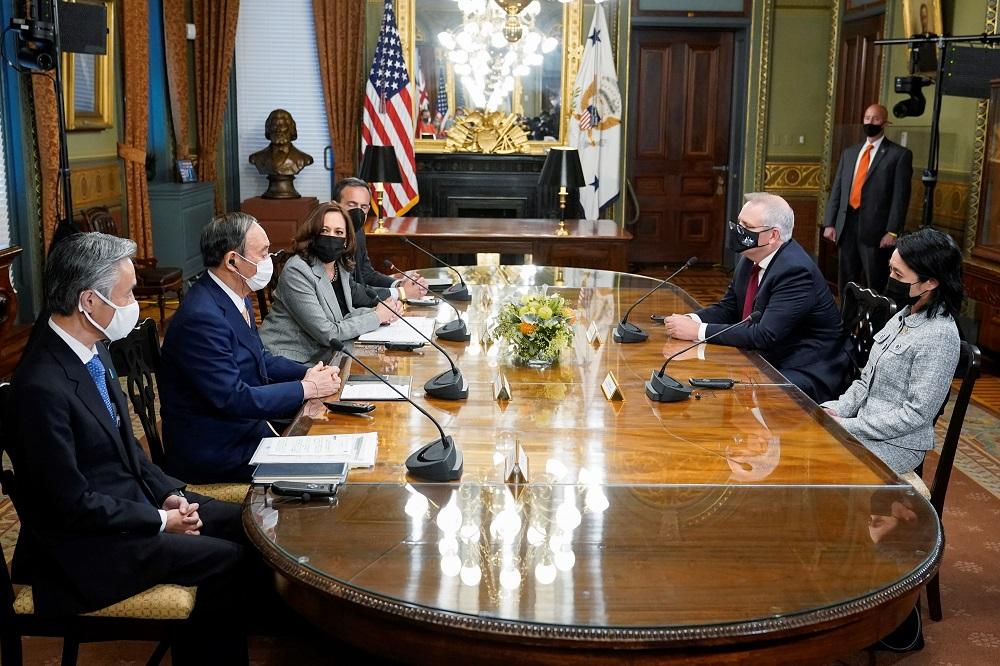 US Vice President Kamala Harris meets with Japanese Prime Minister Yoshihide Suga and Australian Prime Minister Scott Morrison in Washington September 24, 2021. ― Patrick Semansky/Pool via Reuters