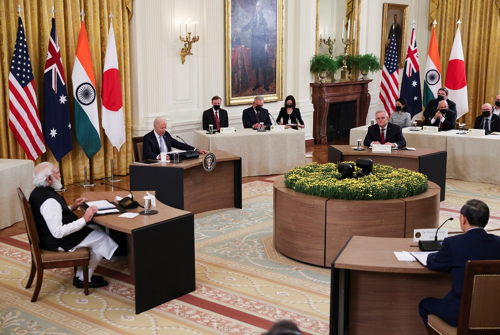 US President Joe Biden hosts a 'Quad nations' meeting at the Leaders' Summit of the Quadrilateral Framework with India's PM Narendra Modi, Australia's PM Scott Morrison and Japan's PM Yoshihide Suga in Washington September 24, 2021. ― Reuters pic