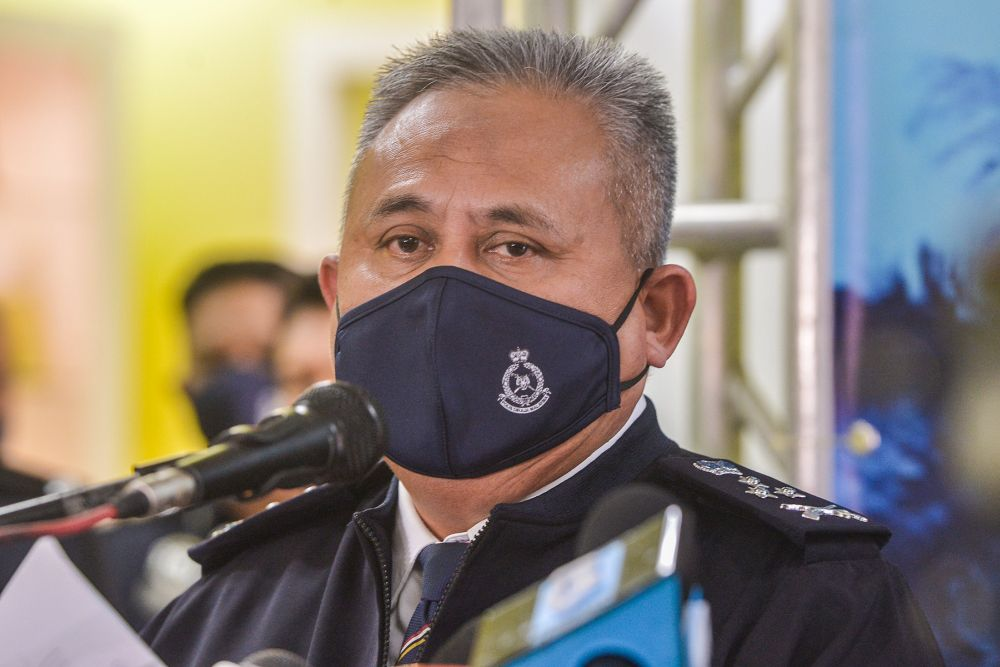 Criminal Investigation Department director Datuk Seri Abd Jalil Hassan speaks during a press conference at the Gombak district police headquarters September 24, 2021. — Picture by Miera Zulyana