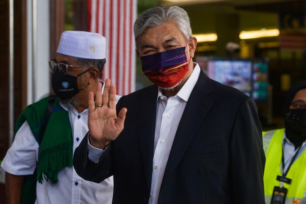 Datuk Seri Ahmad Zahid Hamidi is pictured at the Kuala Lumpur High Court September 22, 2021. — Picture by Miera Zulyana
