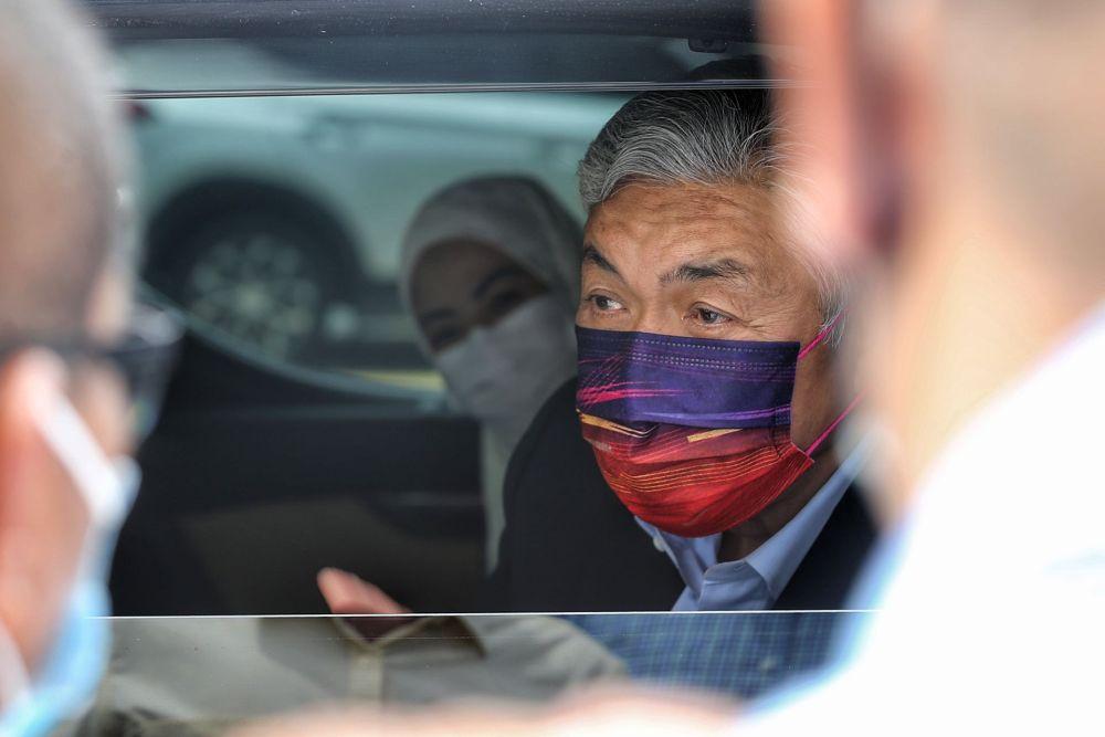 Datuk Seri Ahmad Zahid Hamidi is pictured leaving the Kuala Lumpur High Court September 6, 2021. — Picture by Ahmad Zamzahuri