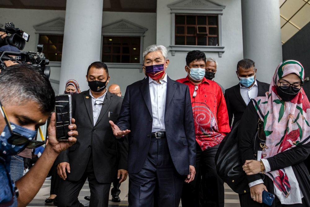 Datuk Seri Ahmad Zahid Hamidi is pictured at the Kuala Lumpur Court Complex September 14, 2021. — Bernama pic