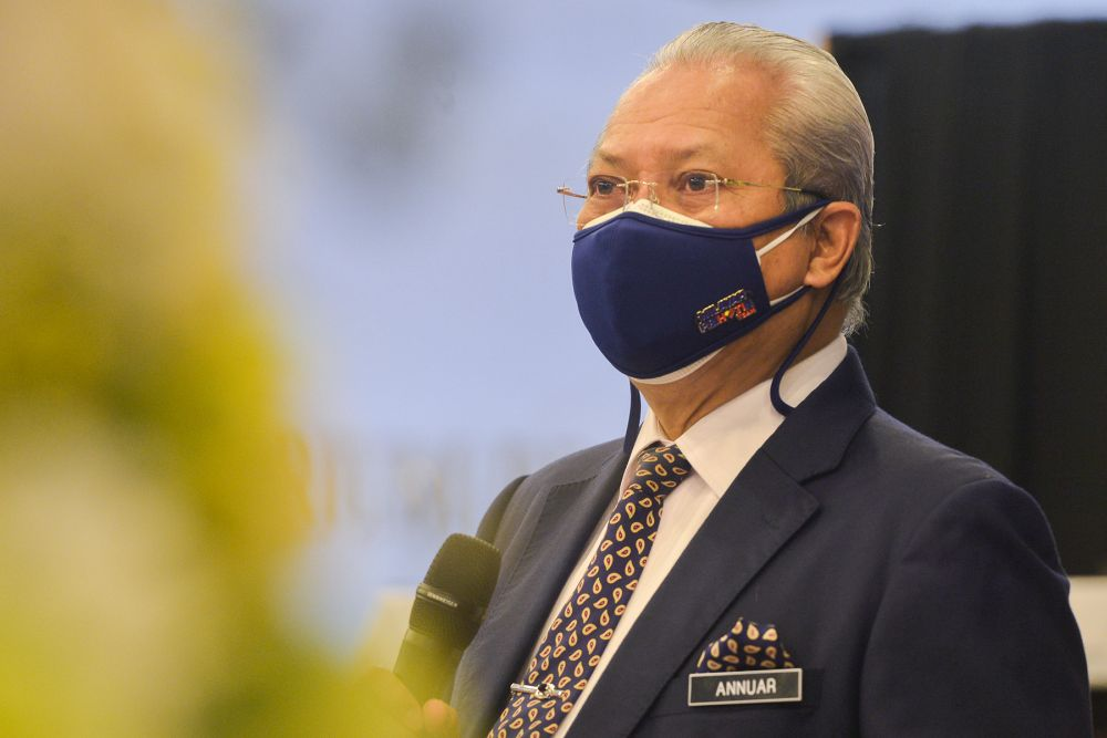 Communications and Multimedia Minister Tan Sri Annuar Musa speaks during a press conference at Wisma Radio Angkasapuri in Kuala Lumpur, September 15, 2021. — Picture by Miera Zulyana