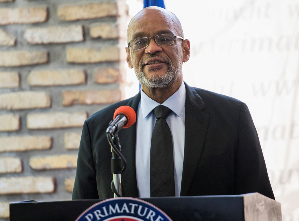 Haiti's Prime Minister Ariel Henry attends the signing ceremony of the 'Political Agreement for a peaceful and effective governance of the interim period' with the opposition, in Port-au-Prince, Haiti September 11, 2021. ― Reuters pic