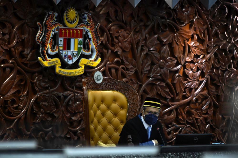 Speaker Datuk Azhar Azizan Harun speaks during a Parliament sitting in Dewan Rakyat, Kuala Lumpur September 14, 2021. — Bernama pic