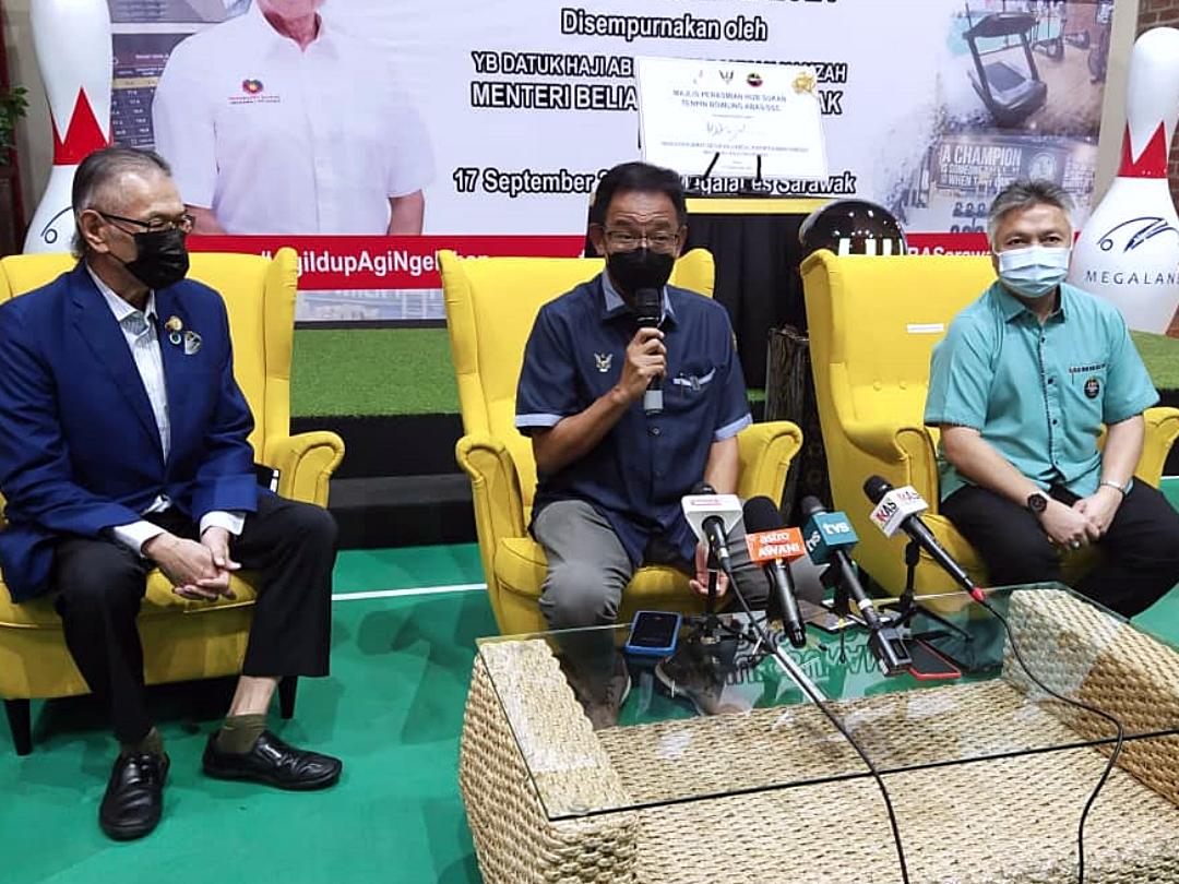 Sarawak Tourism, Arts and Culture Datuk Abdul Karim Rahman Hamzah speaks during a press conference in Kuching September 18, 2021. ― Borneo Post pic
