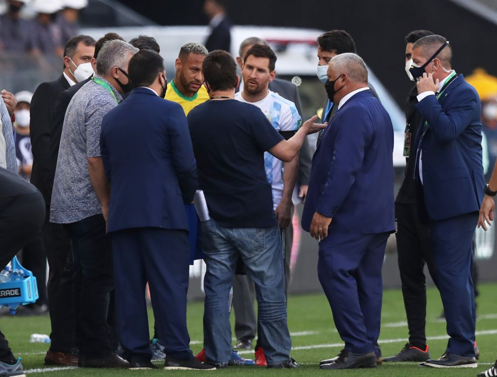 Argentina's Lionel Messi and Brazil's Neymar during an interruption in play at Arena Corinthians, Sao Paulo September 5, 2021 — Reuters pic