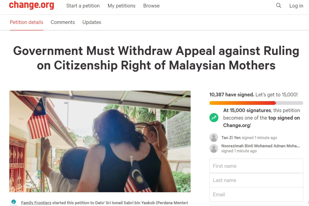 A screenshot of the online petition. In the brief petition, Family Frontiers said it viewed the government's appeal as a betrayal of rights that are long overdue to Malaysian women.