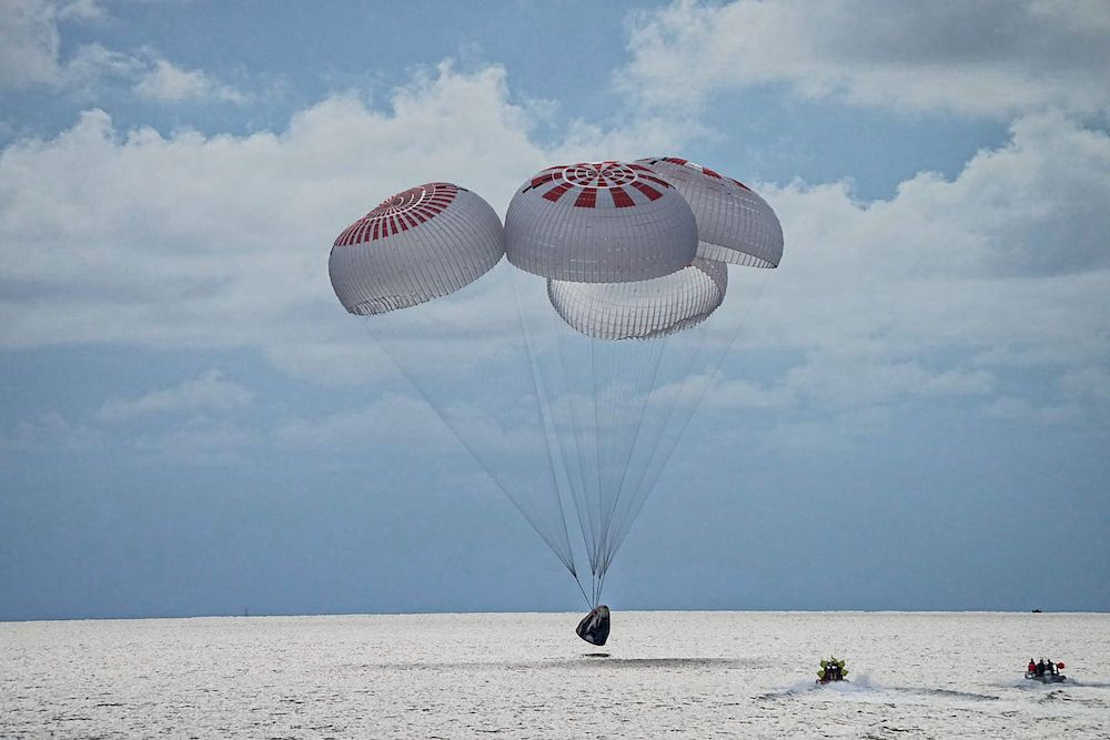 The quartet of newly minted citizen astronauts comprising the SpaceX Inspiration4 mission safely splashes down in SpaceX's Crew Dragon capsule off the coast of Kennedy Space Center, Florida, US, September 18, 2021. — SpaceX/Handout via Reuters