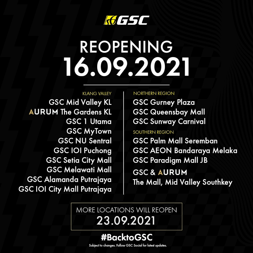 More locations will reopen the following week on September 23, 2021. — SoyaCincau pic
