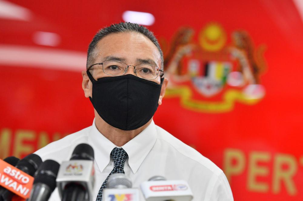 Senior Defence Minister Datuk Seri Hishammuddin Hussein at a press conference at Wisma Pertahanan in Kuala Lumpur, September 2, 2021. — Bernama pic