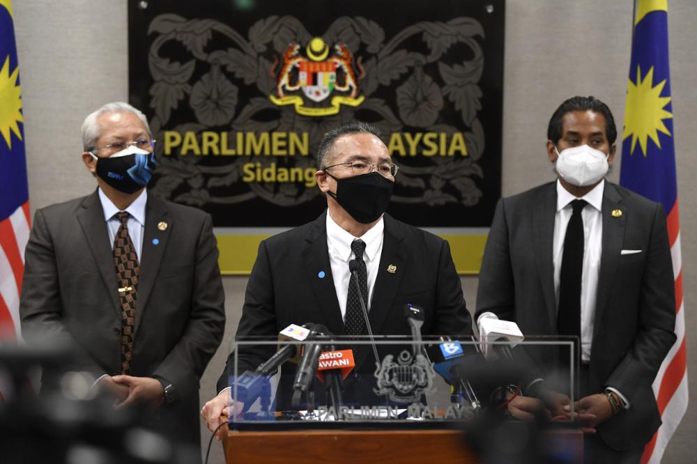 Defence Minister Datuk Seri Hishammuddin Hussein speaks during a press conference in Parliament, Kuala Lumpur September 14,2021. — Bernama pic