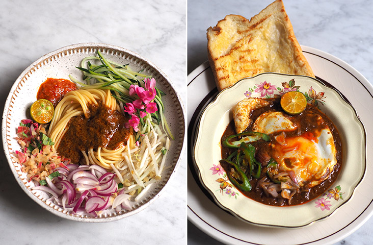 Use your fingers to eat this laksa Johor with its thick sauce made from 'ikan tenggiri' (left). 'Kacang pool' is the ultimate comfort food with the minced beef and fava beans paired with fluffy bread and fried egg (right)