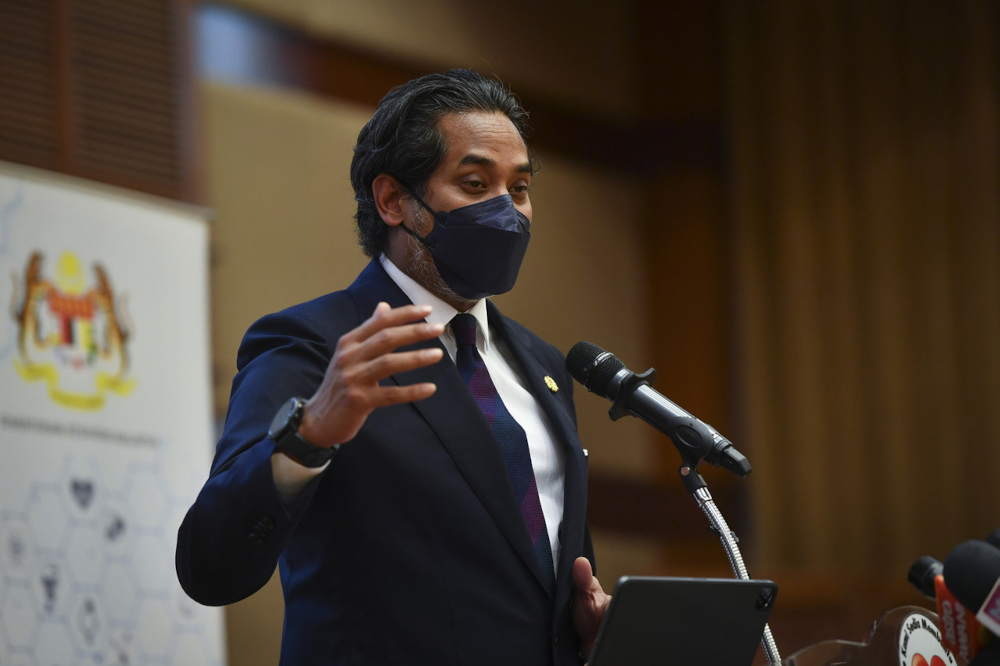 Health Minister Khairy Jamaluddin speaks at a press conference at the Health Ministry in Putrajaya, September 24, 2021. — Bernama pic