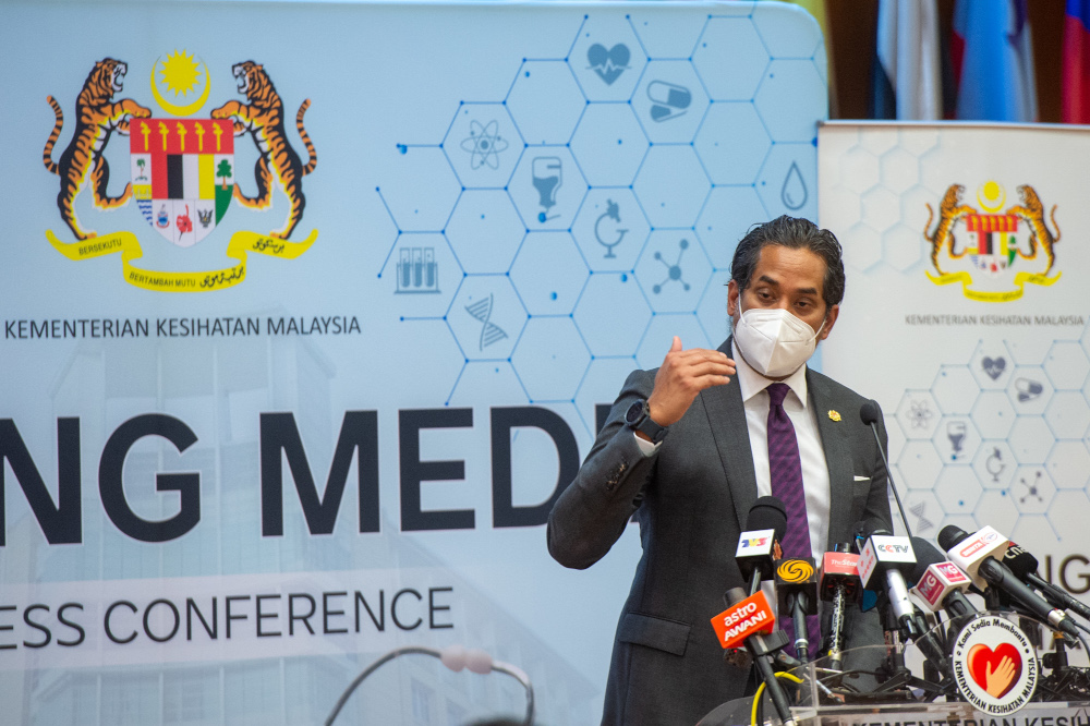 Health Minister Khairy Jamaluddin in a statement today said the dispensing of the booster dose would be carried out voluntarily and is free under the National Covid-19 Immunisation Programme (PICK). — Picture by Shafwan Zaidon