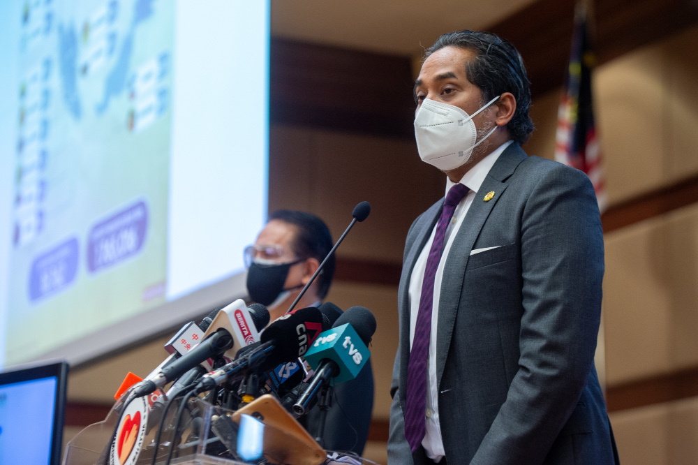 Health Minister Khairy Jamaluddin said that vaccinations for those aged between 12 to 17 will also begin next week. — Picture by Shafwan Zaidon