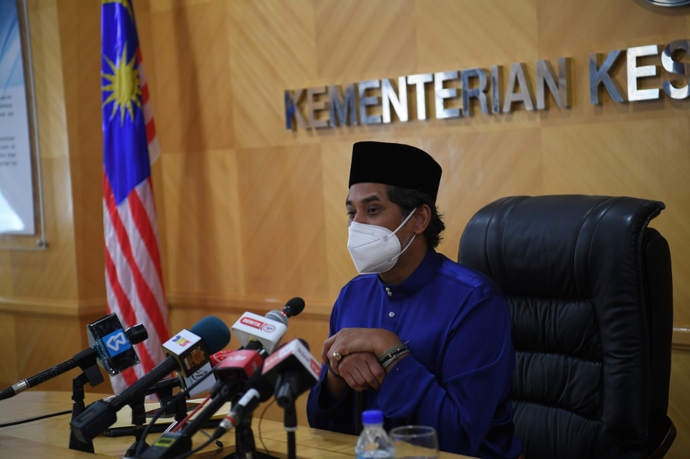 Health Minister Khairy Jamaluddin during a press conference at the Health Ministry Office in Putrajaya, September 3, 2021. — Bernama pic