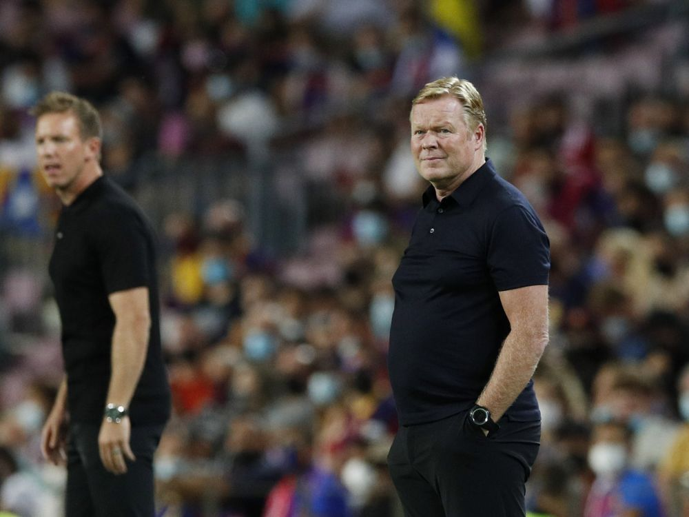 Barcelona coach Ronald Koeman is pictured during the game against Bayern Munich at Camp Nou, Barcelona September 14, 2021. — Reuters pic