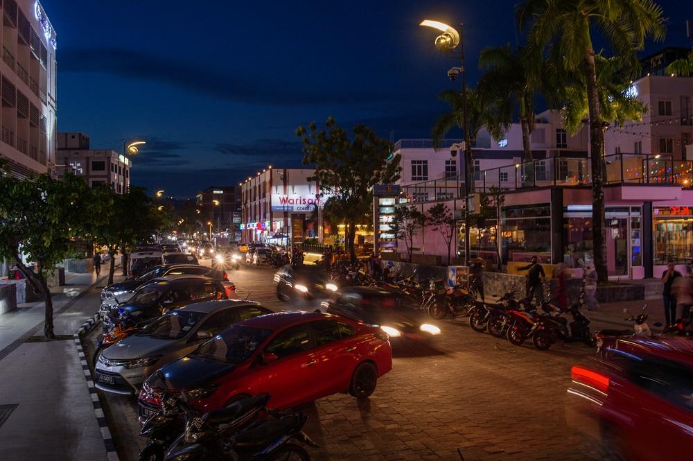Heavy traffic is seen along Jalan Pantai Cenang in Langkawi September 16, 2021.