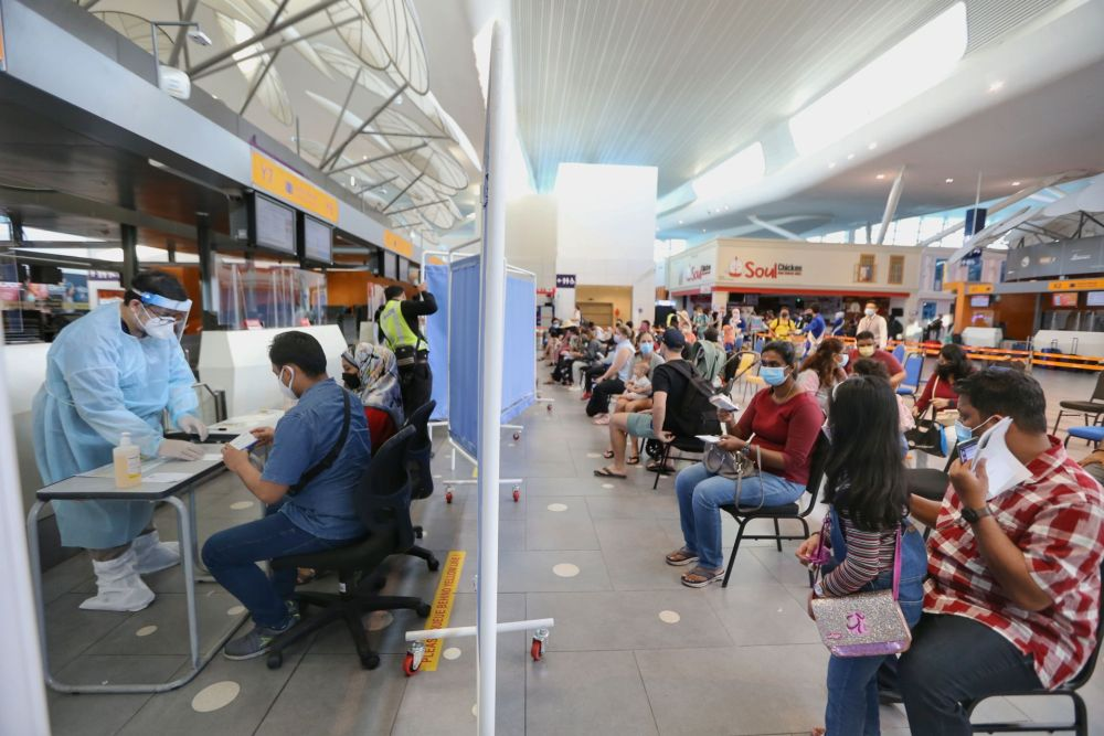 Travellers to Langkawi wait to test for Covid-19 at KLIA2, Sepang September 16, 2021.