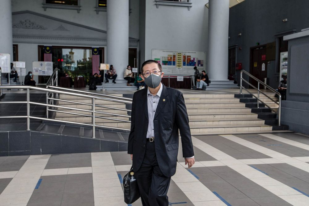 Former Penang chief minister Lim Guan Eng is pictured at the Kuala Lumpur Court Complex September 24, 2021. — Picture by Firdaus Latif