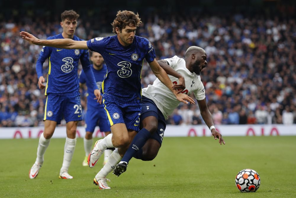 Chelsea's Marcos Alonso (left) in action with Tottenham Hotspur's Tanguy Ndombele at the Tottenham Hotspur Stadium, London September 19, 2021 — Reuters pic