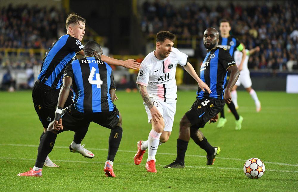 Paris St Germain's Lionel Messi in action against Club Brugge at the Jan Breydel Stadium, Bruges September 15, 2021. — Reuters pic