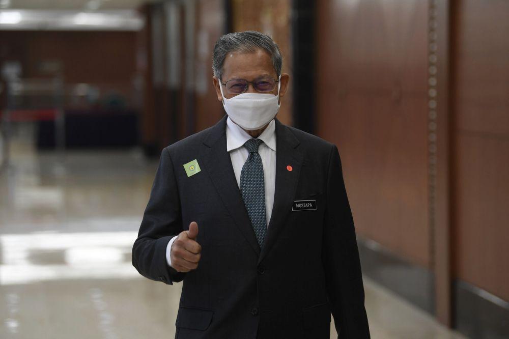 Datuk Seri Mustapa Mohamed is pictured at Parliament, Kuala Lumpur September 20, 2021. — Bernama pic