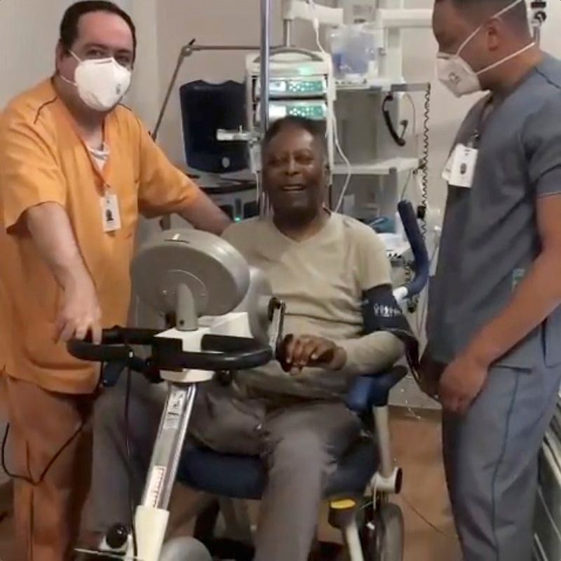 Pele reacts while exercising in a hospital in Sao Paulo, Brazil, September 21, 2021, in this still image from video obtained via social media. — Reuters pic