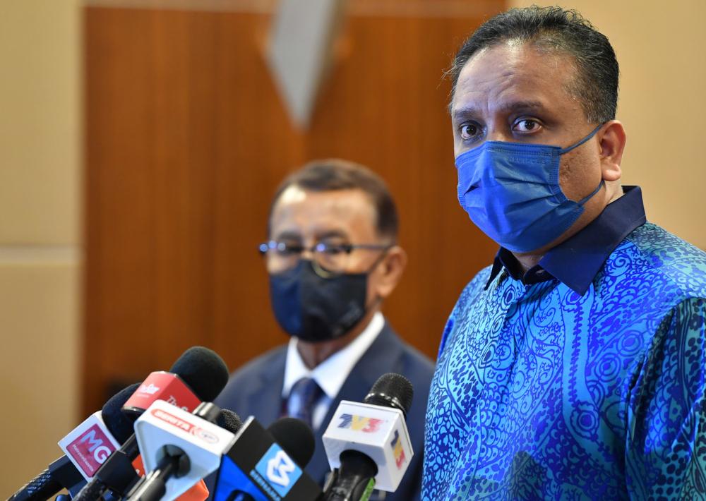 Housing and Local Government Minister Datuk Seri Reezal Merican Naina Merican during a press conference in Putrajaya, September 2, 2021. — Bernama pic