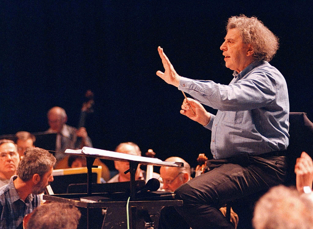 Greek composer Mikis Theodorakis conducts the Skopje's opera orchestra during a rehearsal in the Macedonian capital, April 9, 1997. — Reuters pic
