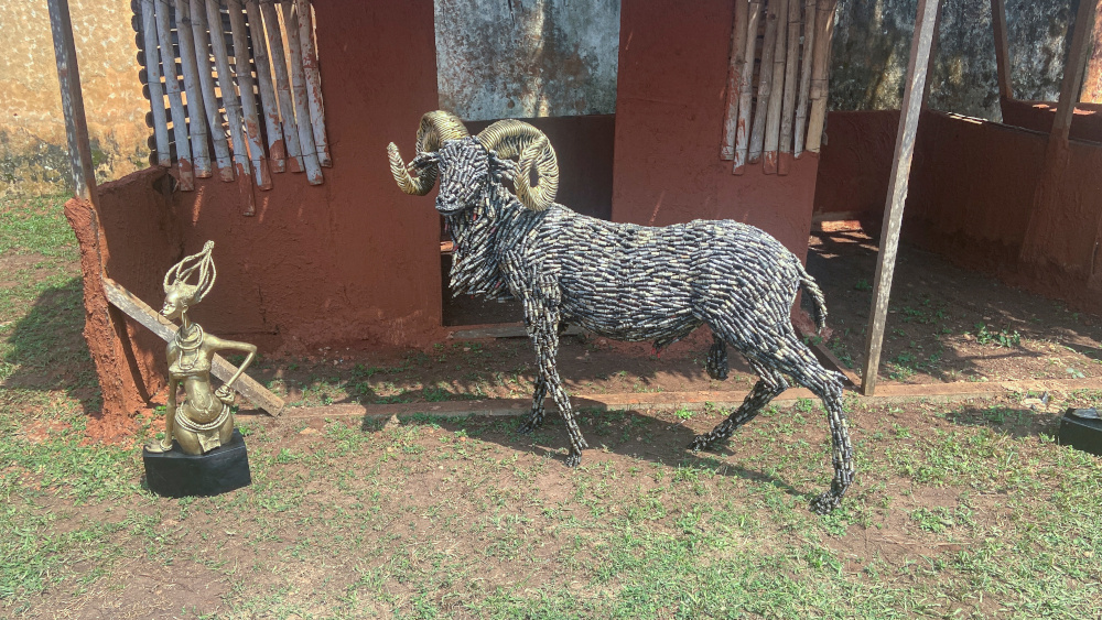 A life-size ram made from spark plugs, one of the artworks offered to the British Museum by Nigerian artists, is displayed in Benin City, Nigeria, July 31, 2021. — Reuters pic