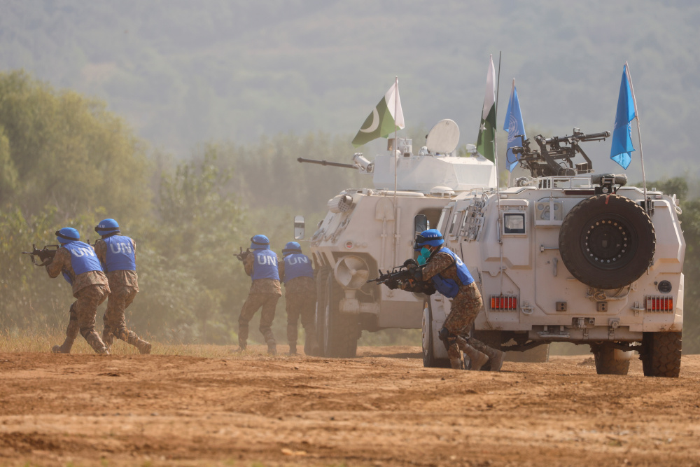 Pakistan soldiers take part in a multinational UN peacekeeping military exercise with troops of the Chinese People's Liberation Army (PLA), Mongolia and Thailand, on the outskirts of Zhumadian September 15, 2021. — Reuters pic