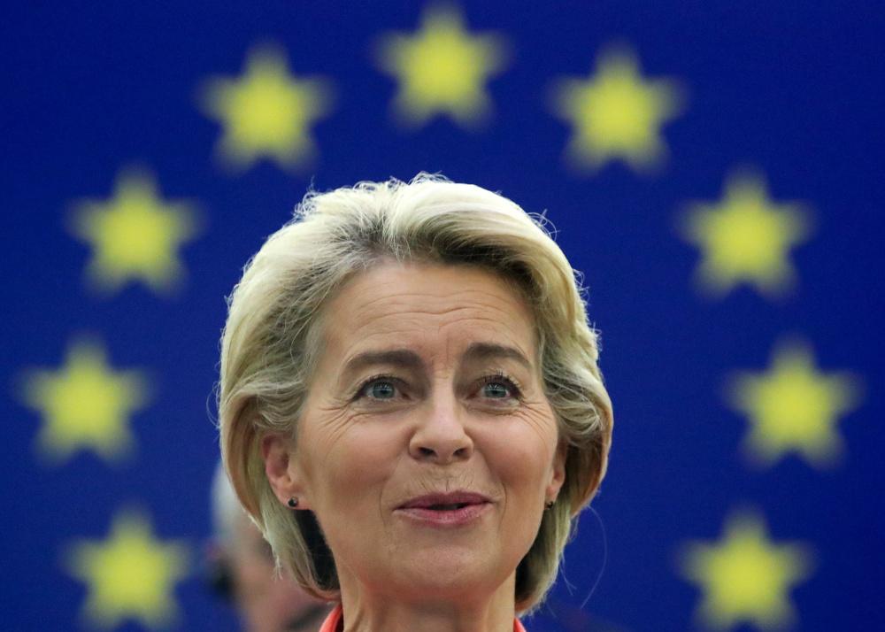 European Commission President Ursula von der Leyen delivers a speech during a debate on 'The State of the European Union' at the European Parliament in Strasbourg September 15, 2021. — Reuters pic