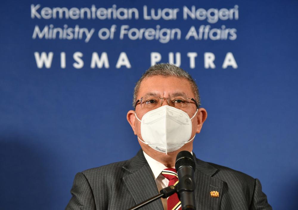 Foreign Minister Datuk Seri Saifuddin Abdullah speaks during a virtual press conference from Putrajaya, September 1, 2021. — Bernama pic