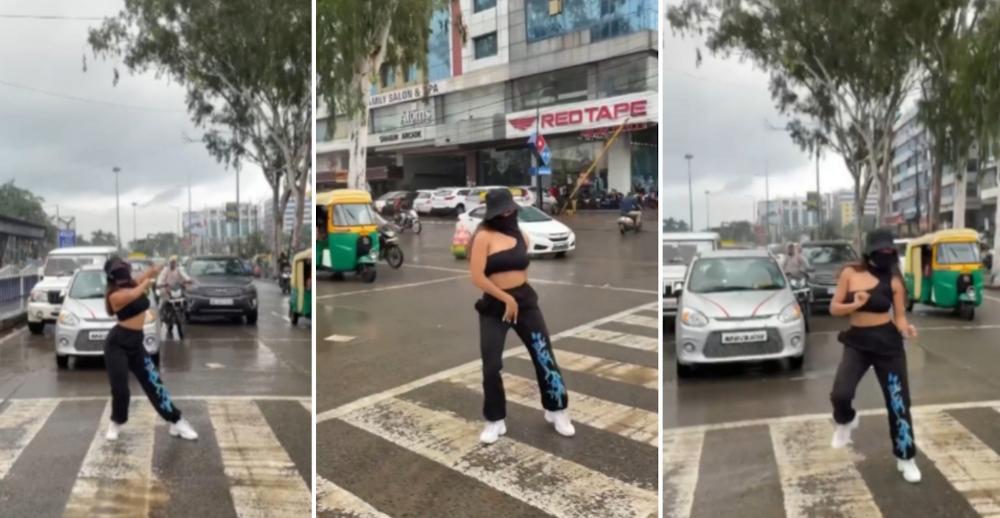 Instafamous Shreya Kalra's public performance caused heavy traffic. — Picture via Instagram/shreyakalraa