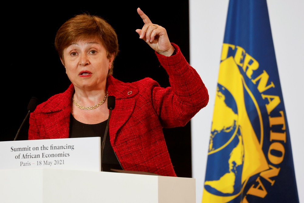 International Monetary Fund Managing Director Kristalina Georgieva speaks during a joint news conference at the end of the Summit on the Financing of African Economies in Paris, France May 18, 2021. — Pool pic via Reuters