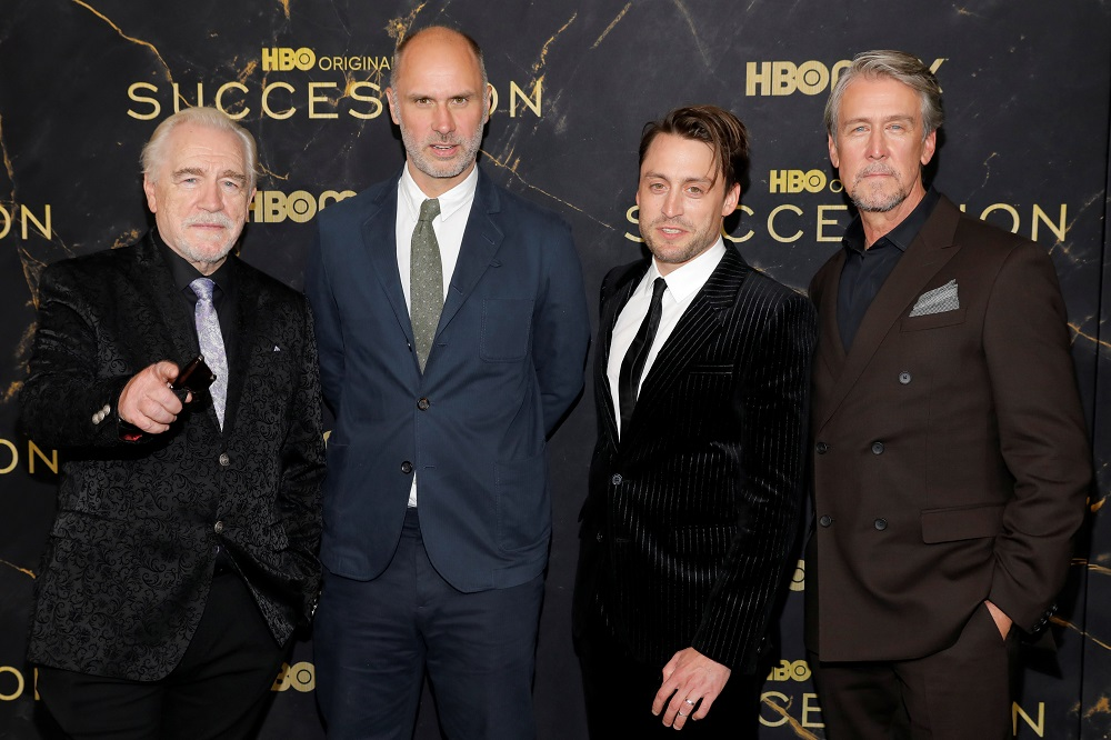 Brian Cox, Jesse Armstrong, Kieran Culkin and Alan Ruck pose while attending the premiere of the third season of 'Succession' in New York October 12, 2021. —  Reuters pic