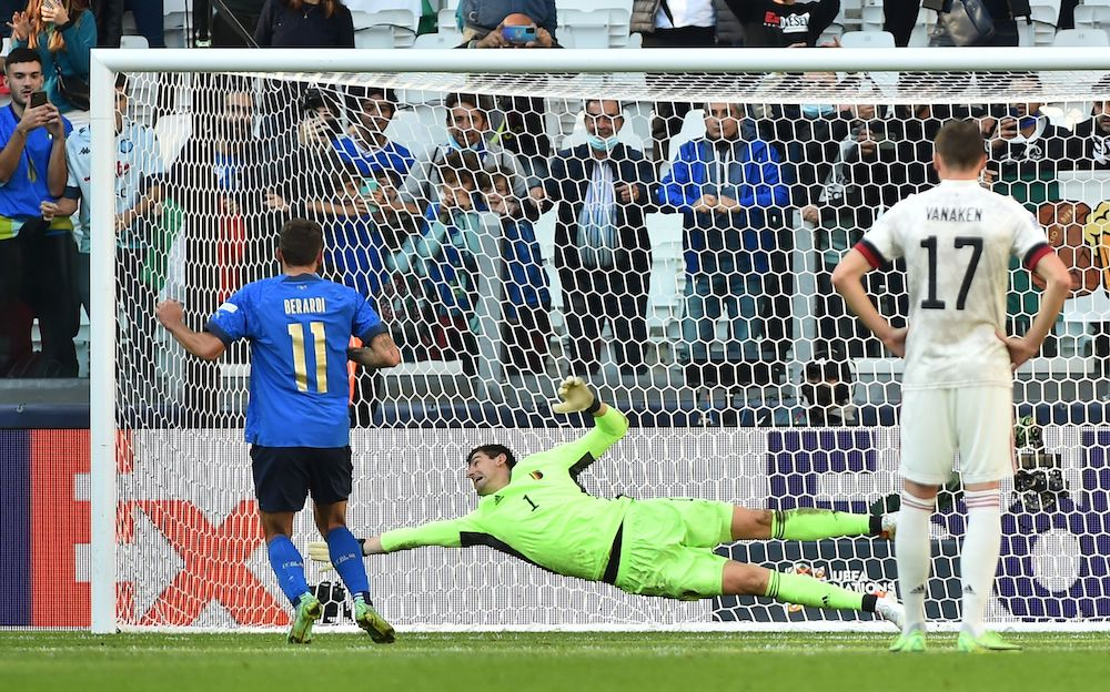 Italy's Domenico Berardi scores their second goal from the penalty spot during the Nations League third-place playoff against Belgium at the Allianz Stadium, Turin, Italy October 10, 2021. — Reuters pic