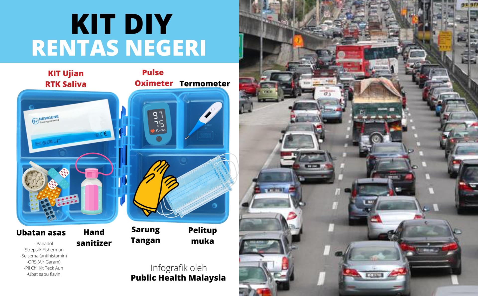 """大马公共卫建议所有要出远门的民众,为自己和家人准备""""跨州Kit DIY""""(Rentas Negeri Kit DIY)。-图摘自大马公共卫生脸书/Choo Choy May摄/精彩大马制图-"""