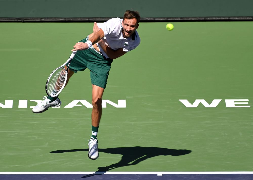 Daniil Medvedev serves against Grigor Dimitrov in his fourth round match during the BNP Paribas Open at the Indian Wells Tennis Garden October 13, 2021. — Reuters pic