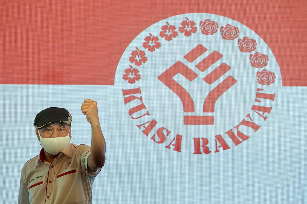 Parti Kuasa Rakyat president Kamarazaman Yaakob is seen at the launch of the political party in Kuala Lumpur October 10, 2021. — Bernama pic