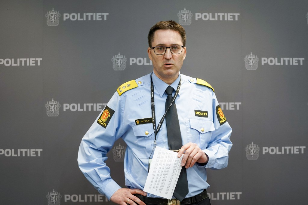 Chief of Police Ole Bredrup Sæverud addresses a press conference in Tonsberg near Kongsberg on October 14, 2021, one day after a man killed five people in Kongsberg. A 37-year-old Danish man was being questioned by Norwegian police in custody, the chief suspect wanted for killing five people by bow-and-arrow in the country's deadliest attack in a decade. — AFP pic