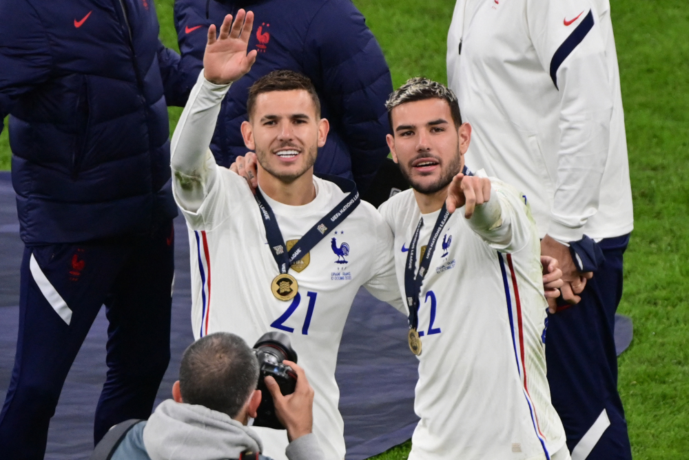 France defenders Lucas Hernandez (left) and Theo Hernandez celebrate their victory at the end of the Nations League final football match between Spain and France at San Siro stadium in Milan, October 10, 2021. — AFP pic