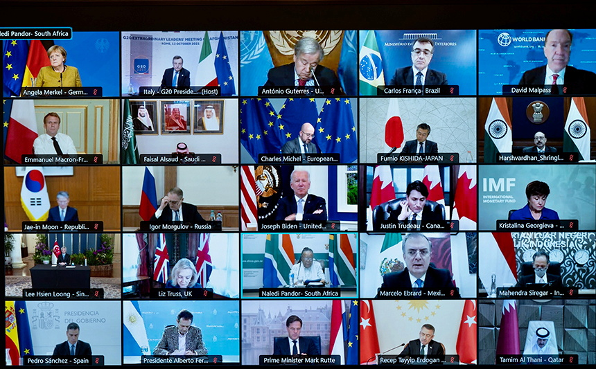 A screen displays international leaders as they take part virtually in an extraordinary G20 leaders meeting on Afghanistan, in Rome, Italy, October 12, 2021. — Reuters pic