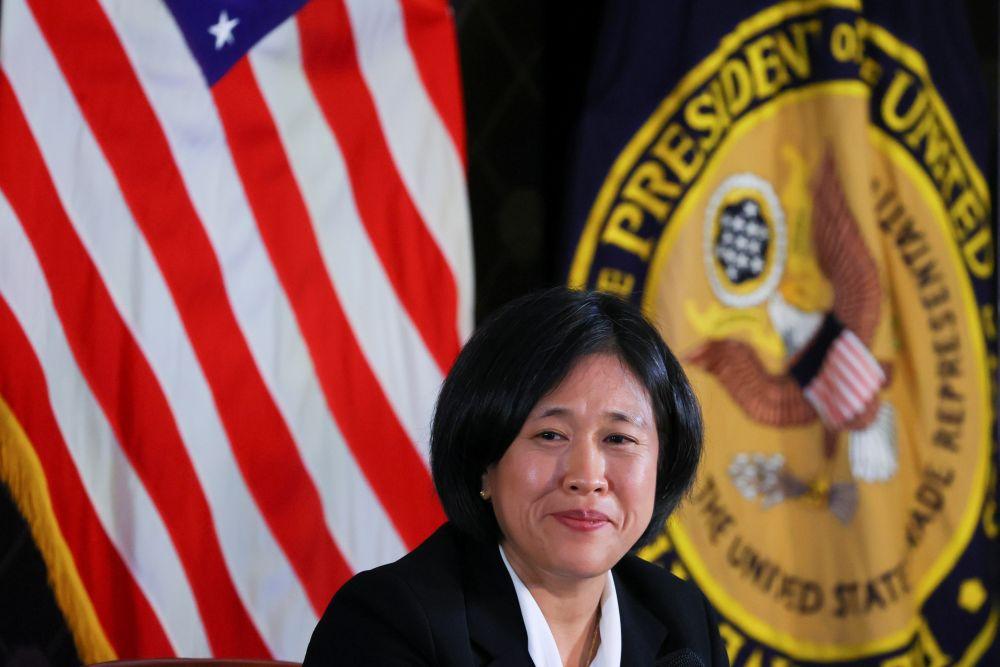 US Trade Representative Katherine Tai addresses the Geneva Graduate Institute ahead of the 12th Ministerial Conference in Geneva, Switzerland October 14, 2021. — Reuters pic