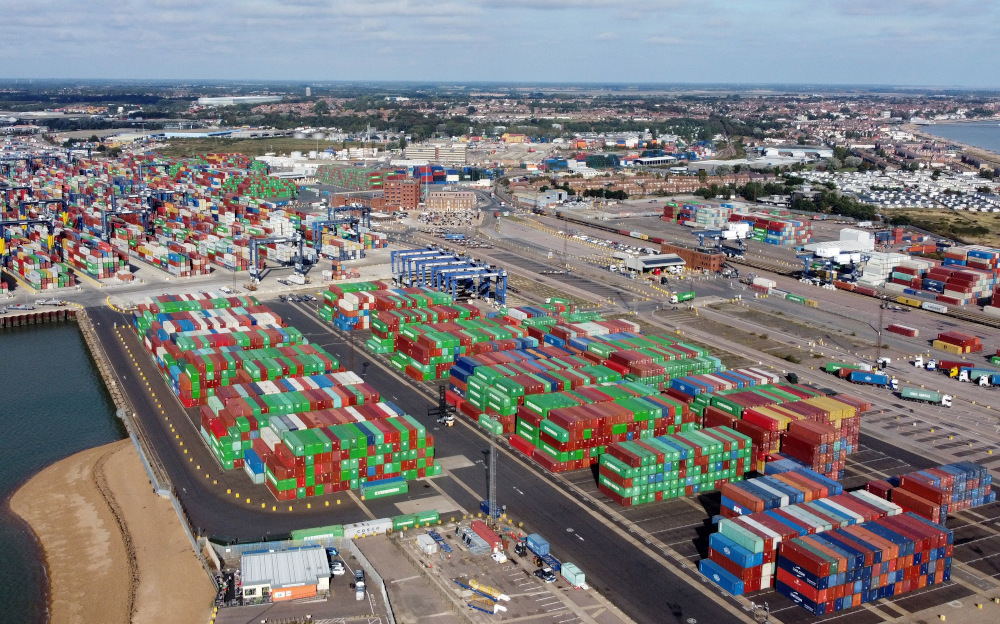 A view shows stacked shipping containers at the port of Felixstowe, Britain, October 13, 2021. Picture taken with a drone. — Reuters pic